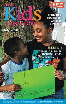 This image is a link to the Austin Kid's Directory magazine for July 2020. It shows two happy kids on the cover of the magazine.